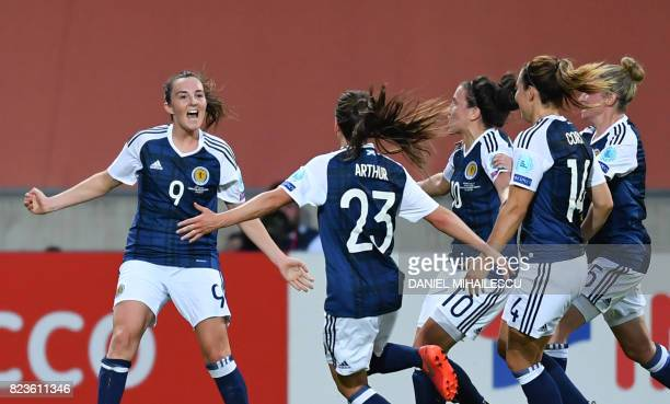 Scotland's Caroline Weir celebrates with teammates after scoring Scotland's first goal during the UEFA Women's Euro 2017 football match between...
