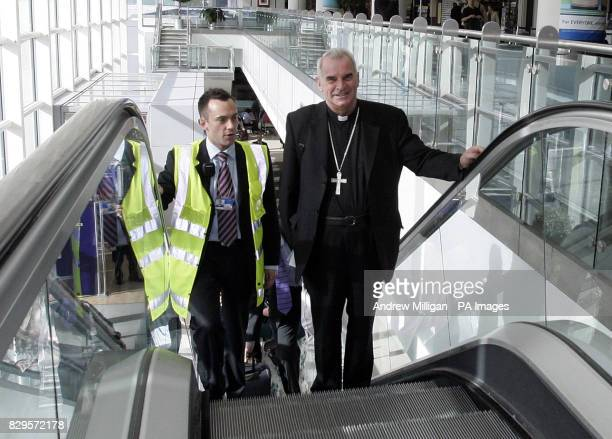 Scotland's Catholic leader Cardinal Keith O'Brien at Edinburgh airport, before his departure for Rome, for the funeral of Pope John Paul II.