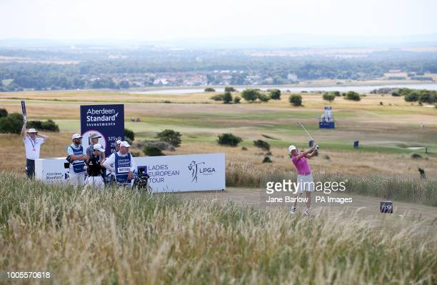 Scotland's Catriona Matthew on the 5th tee during day one of the 2018 Aberdeen Standard Investments Ladies Scottish Open at Gullane Golf Club Gullane