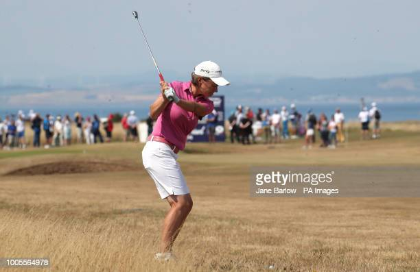 Scotland's Catriona Matthew takes her second shot on the second during day one of the 2018 Aberdeen Standard Investments Ladies Scottish Open at...