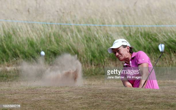 Scotland's Catriona Matthew takes her third shot from a bunker on the second during day one of the 2018 Aberdeen Standard Investments Ladies Scottish...