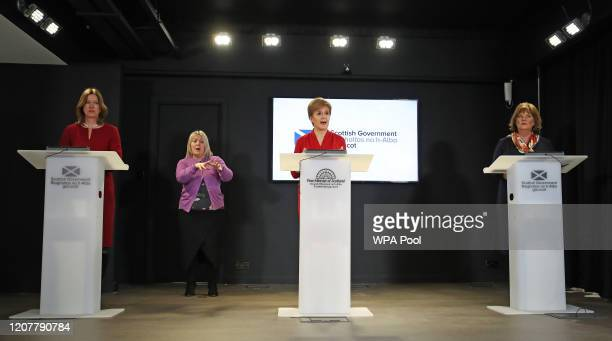 Scotland's Chief Medical Officer Catherine Calderwood Scotland's First Minister Nicola Sturgeon and Secretary for Economy Fair Work and Culture Fiona...
