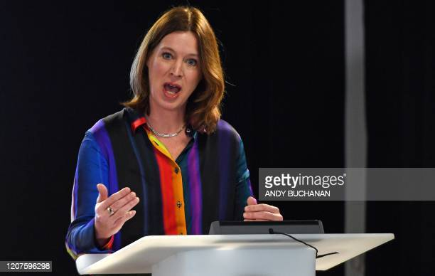 Scotland's Chief Medical Officer Catherine Calderwood speaks during a press conference at St Andrew's House in Edinburgh on March 18 as it was...