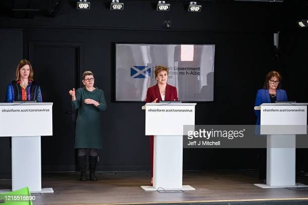 Scotland's Chief Medical Officer Dr Catherine Calderwood First Minister Nicola Strugeon and Health Secretary Jeane Freeman hold a coronavirus...