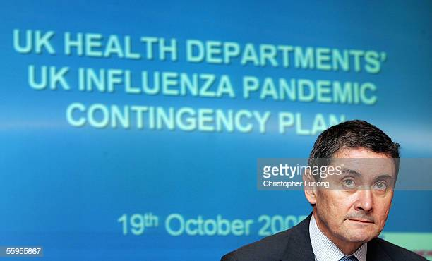 Scotland's chief medical officer Dr Harry Burns announces the influenza pandemic contingency plan for Scotland on October 19, 2005 in Edinburgh,...
