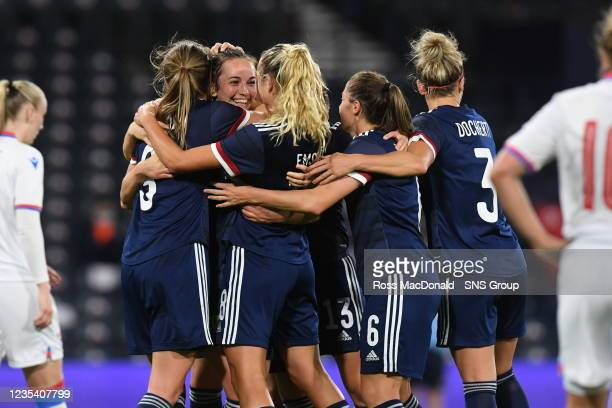Scotland's Chloe Arthur celebrates her goal during a FIFA World Cup Qualifier between Scotland and Faroe Islands at Hampden Park on September 21 in...