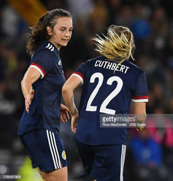 Scotland's Chloe Arthur celebrates her goal with team mate Erin Cuthbert during a FIFA World Cup Qualifier between Scotland and Faroe Islands at...