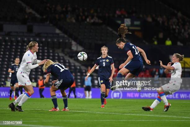 Scotland's Chloe Arthur scores to make it 2-0 during a FIFA World Cup Qualifier between Scotland and Faroe Islands at Hampden Park on September 21 in...