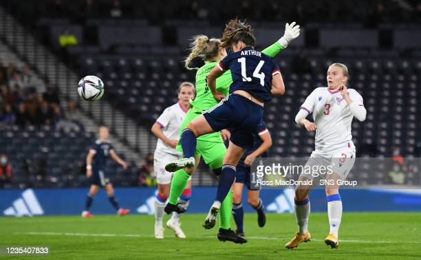 Scotland's Chloe Arthur scores to make it 3-0 during a FIFA World Cup Qualifier between Scotland and Faroe Islands at Hampden Park on September 21 in...