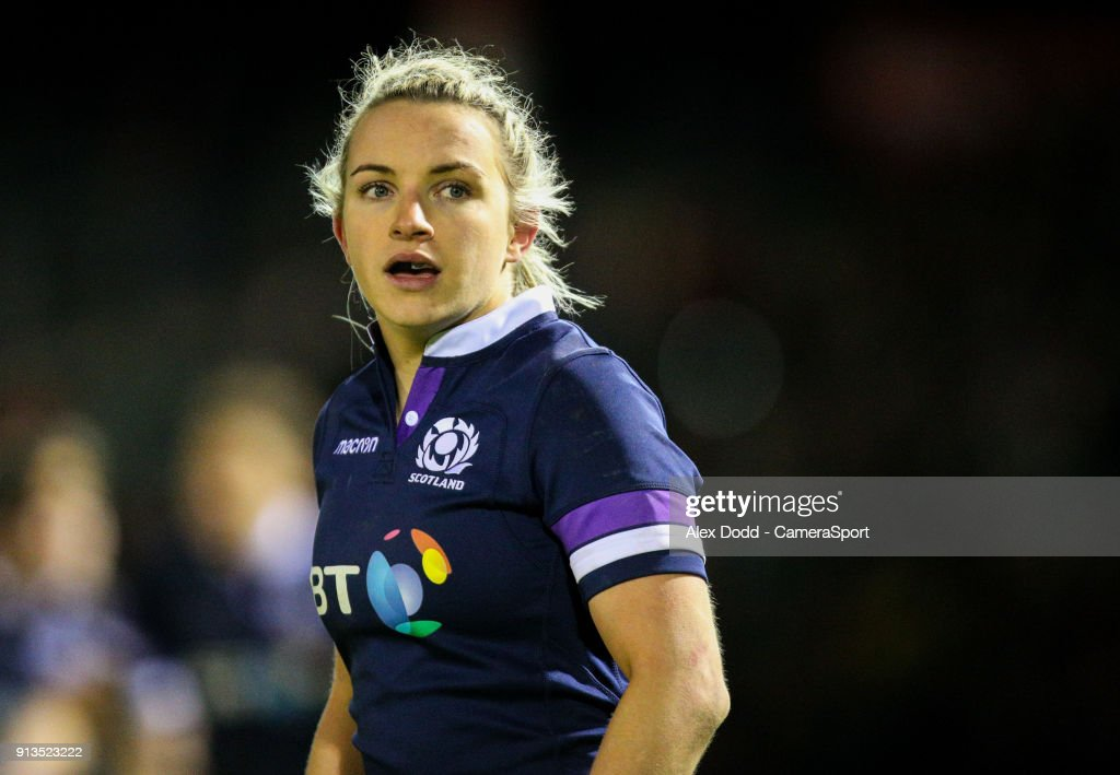 Scotland's Chloe Rollie during the Women's Six Nations Championships Round 1 match between Wales Women and Scotland Women at Eirias Stadium on February 2, 2018 in Colwyn Bay, Wales.