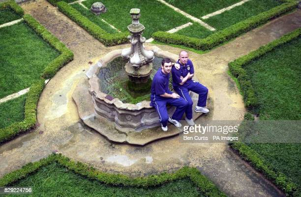 Scotland's Christian Dailly and Paul Devlin pose ahead of a press conference in Guimaraes Portugal Scotland will play Portugal in an International...