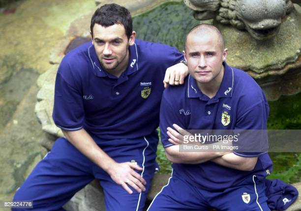 Scotland's Christian Dailly and Paul Devlin pose for photographers ahead of a press conference in Guimaraes Portugal Scotland will play Portugal in...