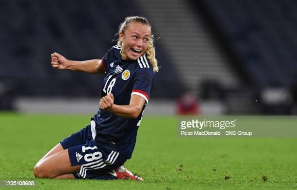 Scotland's Claire Emslie celebrates her goal during a FIFA World Cup Qualifier between Scotland and Faroe Islands at Hampden Park on September 21 in...