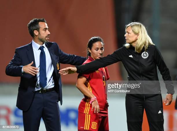 Scotland's coach Anna Signeul shakes hands with Spain's coach Jorge Vilda after the UEFA Women's Euro 2017 football match between Scotland and Spain...