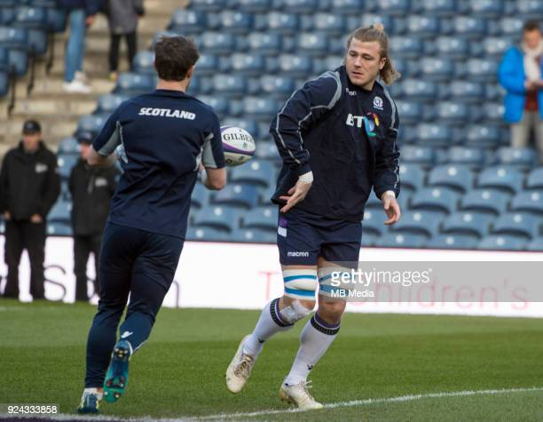 Scotland's David Denton warms up prior to the kick off of the 6 Nations clash between Scotland and England at BT Murrayfield on February 24 2018 in...