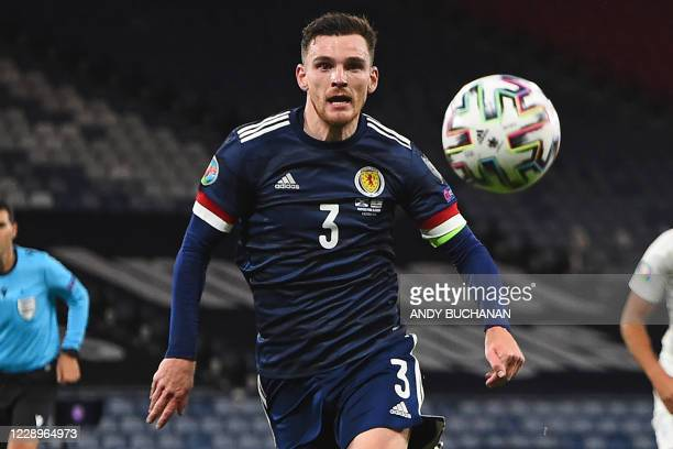 Scotland's defender Andrew Robertson chases the ball during the Euro 2020 playoff semi-final football match between Scotland and Israel at Hampden...