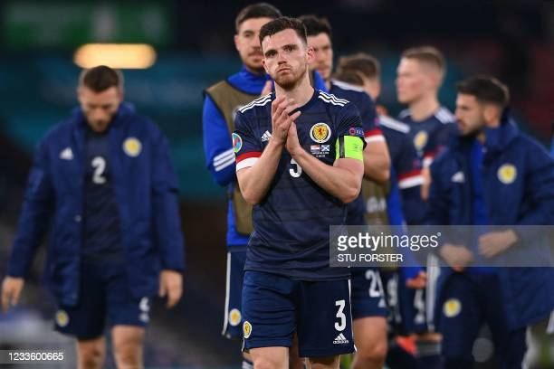 Scotland's defender Andrew Robertson greets the crowd after their defeat in the UEFA EURO 2020 Group D football match between Croatia and Scotland at...