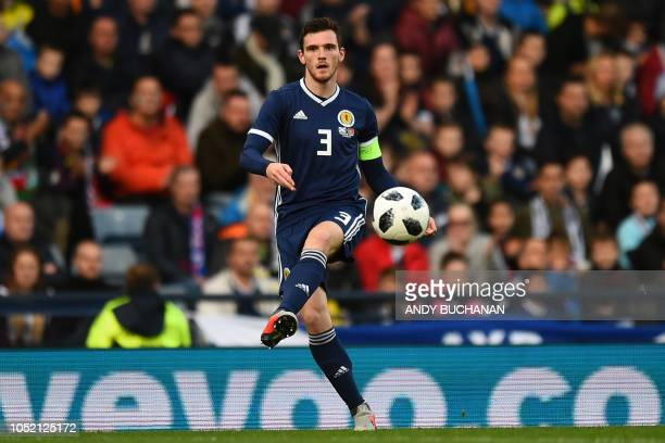 Scotland's defender Andrew Robertson passes the ball during the International friendly football match between Scotland and Portugal at Hampden Park...