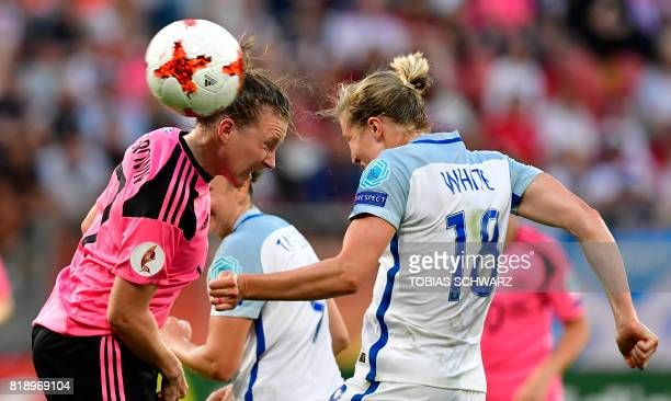 Scotland's defender Frankie Fantom Brown heads the ball with England's forward Ellen White during the UEFA Women's Euro 2017 football match between...