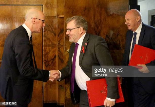 Scotland's Deputy First Minister John Swinney meets Scottish Secretary David Mundell and First Secretary of State Damien Green to discuss Brexit at...