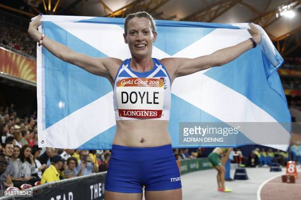 Scotlands Eilidh Doyle celebrates winning the silver medal in the athletics women's 400m hurdles final during the 2018 Gold Coast Commonwealth Games...