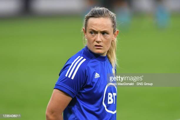 Scotland's Erin Cuthbert ahead of kick off during a FIFA World Cup Qualifier between Scotland and Faroe Islands at Hampden Park on September 21 in...