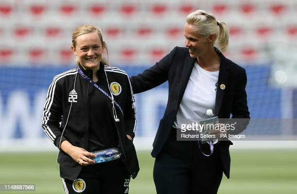 Scotland's Erin Cuthbert and manager Shelley Kerr during the FIFA Women's World Cup Group D match at the Stade de Nice