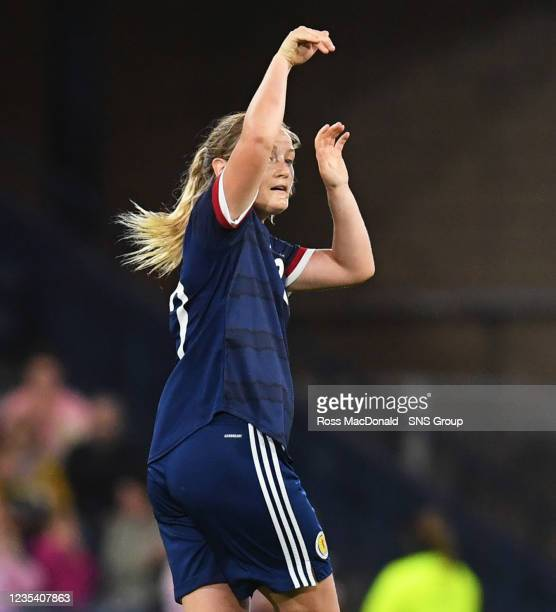 Scotland's Erin Cuthbert celebrates her goal during a FIFA World Cup Qualifier between Scotland and Faroe Islands at Hampden Park on September 21 in...