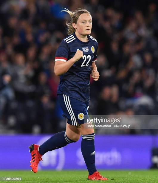 Scotland's Erin Cuthbert celebrates her opener during a FIFA World Cup Qualifier between Scotland and Faroe Islands at Hampden Park on September 21...