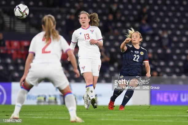 Scotland's Erin Cuthbert scores the opening goal during a FIFA World Cup Qualifier between Scotland and Faroe Islands at Hampden Park on September 21...