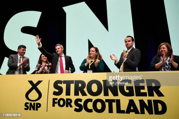 Scotland's Finance Secretary Derek Mackay addresses party autumn conference on October 14 2019 in Aberdeen Scotland The SNP's autumn conference...