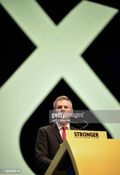 Scotland's Finance Secretary Derek Mackay addresses the party autumn conference on October 14 2019 in Aberdeen Scotland The SNP's autumn conference...