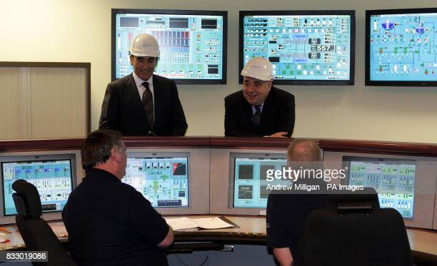 Scotland's First Minister Alex Salmond and Ignacio Galan chief executive and Chairman of Iberdrola in the control room Longannet Power Station where...