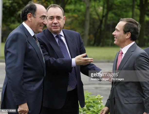 Scotland's First Minister Alex Salmond greets Jose Luis Del Valle chief executive of Scottish Power and Ignacio Galan chief executive and Chairman of...