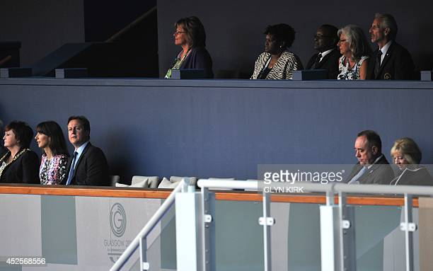 Scotland's first Minister Alex Salmond his wife Moira Salmond Britain's Prime Minister David Cameron and his wife Samantha Caneron await the start of...