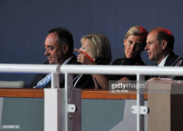 Scotland's first minister Alex Salmond his wife Moira Salmond Sophie Countess of Wessex and Prince Edward Earl of Wessex look on ahead of the opening...