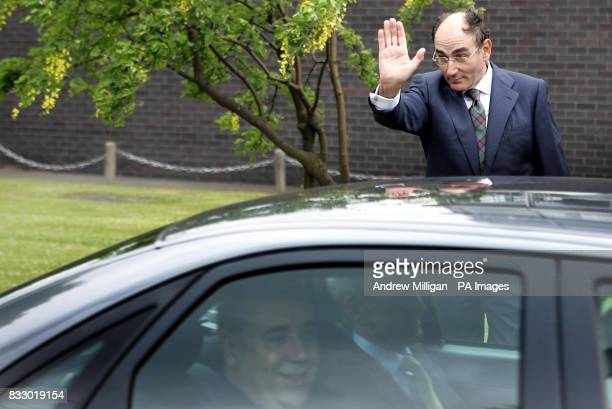 Scotland's First Minister Alex Salmond is waved off by Ignacio Galan chief executive and Chairman of Iberdrola following his first official...