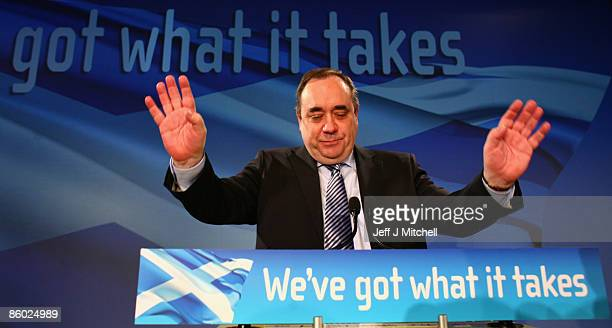 Scotland�s First Minister Alex Salmond takes applause after giving his key note speech to the SNP spring conference on April 18 2009 in Glasgow...