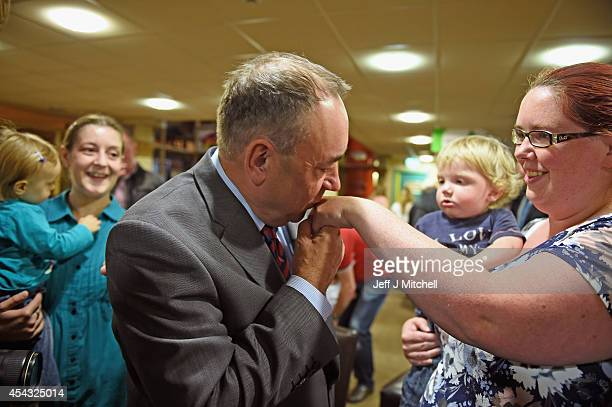 Scotland's First Minister Alex Salmond visits Time Twisters indoor activity park on August 29 2014 in Edinburgh Scotland Mr Salmond was using the...