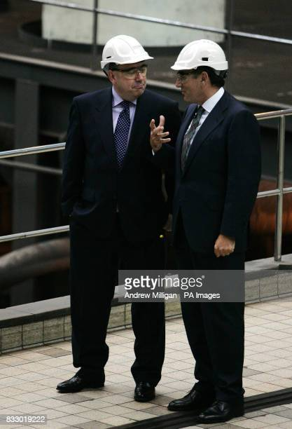 Scotland's First Minister Alex Salmond with Ignacio Galan chief executive and Chairman of Iberdrola in the turbine hall during his first official...
