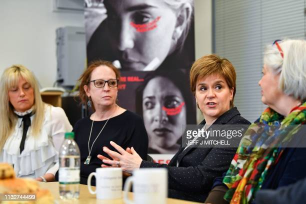 Scotland's First Minister, and leader of the Scottish National Party , Nicola Sturgeon visits Glasgow East Womens Aid on March 25, 2019 in Glasgow,...
