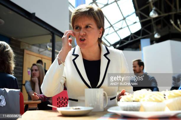 Scotland's First Minister and leader of the Scottish National Party Nicola Sturgeon meets with European citizens during a European Parliament...