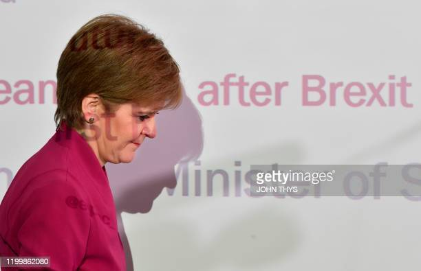 Scotland's First Minister and leader of the Scottish National Party Nicola Sturgeon arrives to deliver a speech on Scotland's European future after...