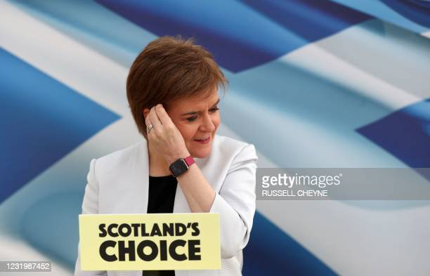 Scotland's First Minister and leader of the Scottish National Party , Nicola Sturgeon rehearses her SNP Campaign Conference speech, due to be...