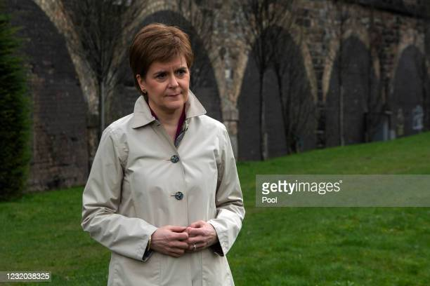 Scotland's First Minister and leader of the Scottish National Party , Nicola Sturgeon launches the SNP's virtual election campaign ahead of the...