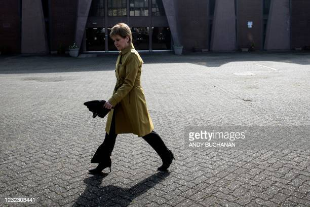 Scotland's First Minister, and leader of the Scottish National Party Nicola Sturgeon, leaves after visiting Glasgow Central Mosque in Glasgow on...