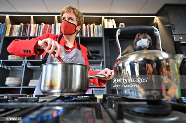 Scotland's First Minister and leader of the Scottish National Party , Nicola Sturgeon campaigns in Station House Cafe Cookery School in...