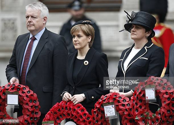 Scotland's First Minister and Leader of the Scottish National Party Nicola Sturgeon attends a VE Day service of remembrance at the Cenotaph on...