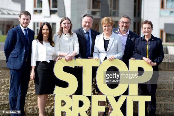 Scotland's First Minister and Scottish National Party leader Nicola Sturgeon poses with the SNP's six candidates as she launches the party's European...
