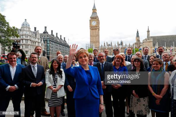 Scotland's First Minister and Scottish National Party leader Nicola Sturgeon poses for a photograph with members of the SNP Westminster Group of MPs...